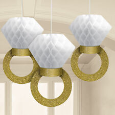Honeycomb Gold Glitter Ring Wedding Engagement Party Hanging Decoration x 3