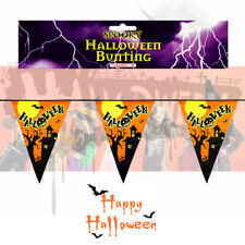 """12"""" Halloween Bunting Haunted House 12ft 11 flags Party Decoration Pendants"""