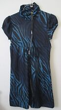 Juniors M Soulmates Blue Black Animal Print Cowl Neck Cap Sleeve Dress Belted
