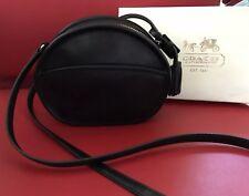 Coach Legacy Black Leather Round Canteen Crossbody Tassels Silver Tone EUC