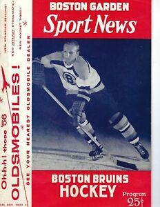 1956 1/29 hockey program Boston Bruins v Toronto Maple Leafs Tim Horton VG