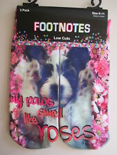 """3 pairs adorable dog in flowers socks """"my paws smell like roses"""" pink daisies"""