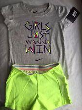Girls Nike 5 Gray Girls Just Wanna Win Shirt S/S Top NEW NWT Old Navy Shorts
