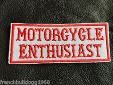 Motorcycles Enthusiast Patch Aufnäher MC Kutte Harley Chopper Red&White NEU
