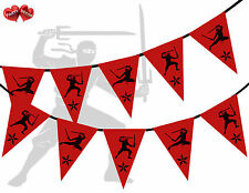 Red with Black Print Ninja Themed Bunting Banner 15 flags by PARTY DECOR