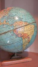 "Vintage 1941 Cram's Universal Terrestrial Globe 101/2""~#105 w/Wood Art Deco Base"
