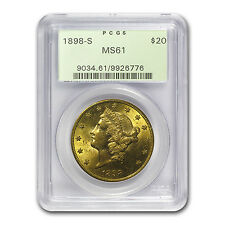 1800s S Mint Mark $20 Gold Liberty Double Eagle Coin - MS-61 PCGS