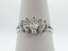Genuine Marquise Cut Diamonds (1.10TCW) Solid 14K White Gold Ring FREE Sizing
