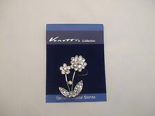 Silver Coloured Flower Brooch Double Stem Genuine Crystal Stones, New