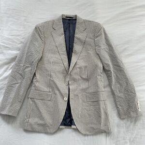 J. Crew Ludlow Slim Suit Jacket Blazer Japanese Seersucker Beige G7736 Size 38R