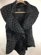 Mary Firenze Sweater Small Vest Black Gray Wrap Mohair Wool Tied Made in Italy