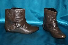 FAITH  khaki green genuine leather ladies pull on ankle boots size 3