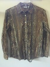 CHICO'S 1 Sheer Snakeskin Button Front Shirt Size M EUC