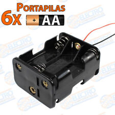 PORTAPILAS 6x 3+3 AA R6 9v con cable alimentacion PCB battery holder