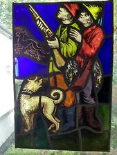 Stained glass / leaded light panel : professionally renovated : 31cm x 47cm