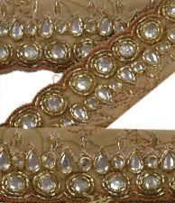 Vintage Sari Border Antique Hand Beaded 1 YD Indian Trim Décor Ribbon Beige Lace