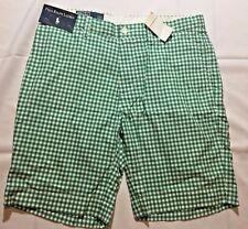 Polo Ralph Lauren Waist Golf Shorts Green White Plaid Suffield Gingham Size 33