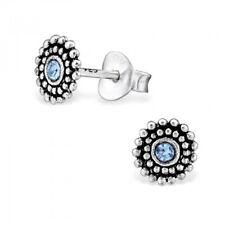 Light Blue Round Ethnic Sterling Silver Mini Stud Earrings 6mm