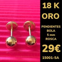 18K Pendientes Bola 5 mm Oro Amarillo 18 Kilates