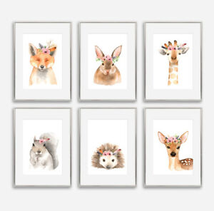 Woodland Floral Animal Prints Baby Nursery Childrens Bedroom Pictures Decoration
