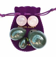 NEW! Yoni Eggs 5-pcs Set of Nephrite Jade, Pair of Rose Quartz Ben Wa Balls
