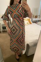 Vintage 70s Bell Sleeve Maxi Dress Geometric True Size XS - S 8 - 10 Colourful