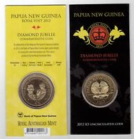 PAPUA NEW GUINEA – 5 KINA UNC COIN 2012 YEAR DIAMOND JUBILEE IN MINT PACK