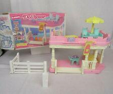 VTG Playskool Dollhouse Sundeck Porch Chairs Beverage Cart Flag Table Fence Box