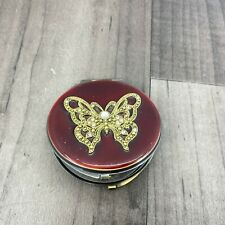 Vintage Compact Twin Mirror Enamel Butterfly Lovely