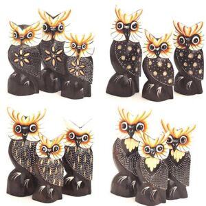 Eule Eulen 3 er Set aus Holz 4 Modelle Owl Uhu Kautz Dekofigur Skulptur Geschenk