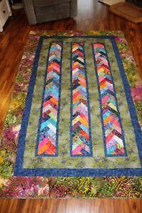 "Twin size handmade quilt 98"" X 62"" in bright batik fabrics - blue & green"