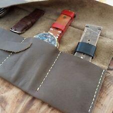 3 slots Leather Watch Roll Case travel Handmade Italian mens box bag Soft travel