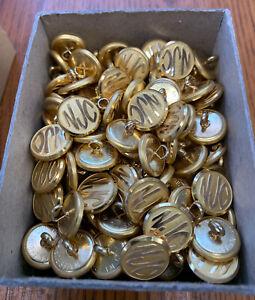 144 Vintage NOS NJ Central Railroad Uniform Buttons Waterbury Brass Conrail NJC