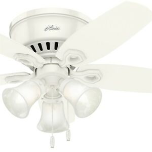 Hunter Fan 42 inch Low Profile Snow White Ceiling Fan with Light and Pull Chain