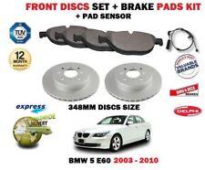 für BMW 5 E60 2003-2010 BREMSSCHEIBEN VORNE 348mm SATZ +BREMSBELÄGE +Sensor Kit