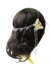 Silver Cream Butterfly Headpiece Hair Clips Bridesmaid Headband 1920s Vtg 2084