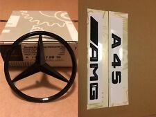 Mercedes A Class W176 Rear Boot Star+A45 AMG Badge Emblem Set - Gloss Black
