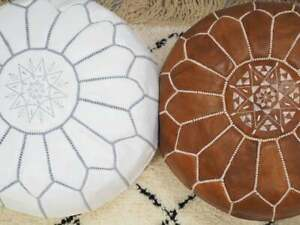 set of two Moroccan tan and white handmade poufs/ustuffed ottoman/Moroccan style