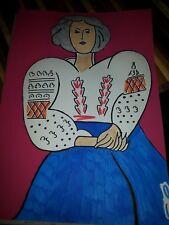 dessin au feutre et peinture d'une femme d'après matisse