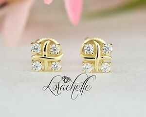 4-Stone Stud Earrings 14K Solid Yellow Gold 0.3 ct Brilliant Cut Round