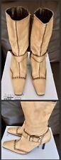 Women's Sandy Beige Leather Stiletto Heel 3 Quarter Boots Square Toe UK Size 5