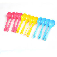 12Pcs Baby Feeding Spoon Safe Plastic Toddler Training Eating Spoon Food Set WG