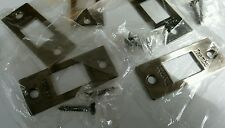 (5) Taamba Brass Door Strike Catch Plates Dark Silver..  2 3/4 x 1 1/8 .. New