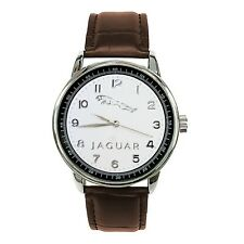 JAGUAR Mens Stainless Steel WHITE Dial BROWN Leather Strap Sport CAR Watch