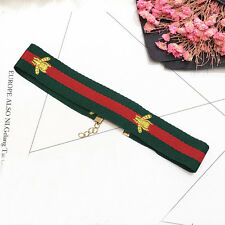 Embroidery Fashion Necklace Red Green Striped Choker Jewelry Bee Stretch Collar