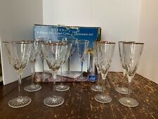 Cristal d'Arques France Eternity Gold 4 Crystal Goblets and 4 Champagne Flutes