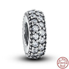 Sterling Silver European Charm Crystal Pave Inspiration Spacer Bead for Women