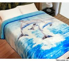 NEW King / Queen Bed Size The Big Sleep Mink Polyester Quilt Blanket - Dolphin