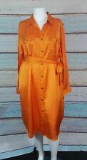 Lauren Ralph Lauren Orange  Satin Button-Front Shirtdress Size 16W