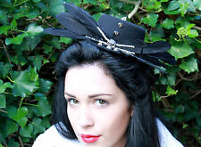 BLACK FEATHER SKULL TOP HAT EVIL HALLOWEEN ZOMBIE BRIDE GOTH STEAM PUNK